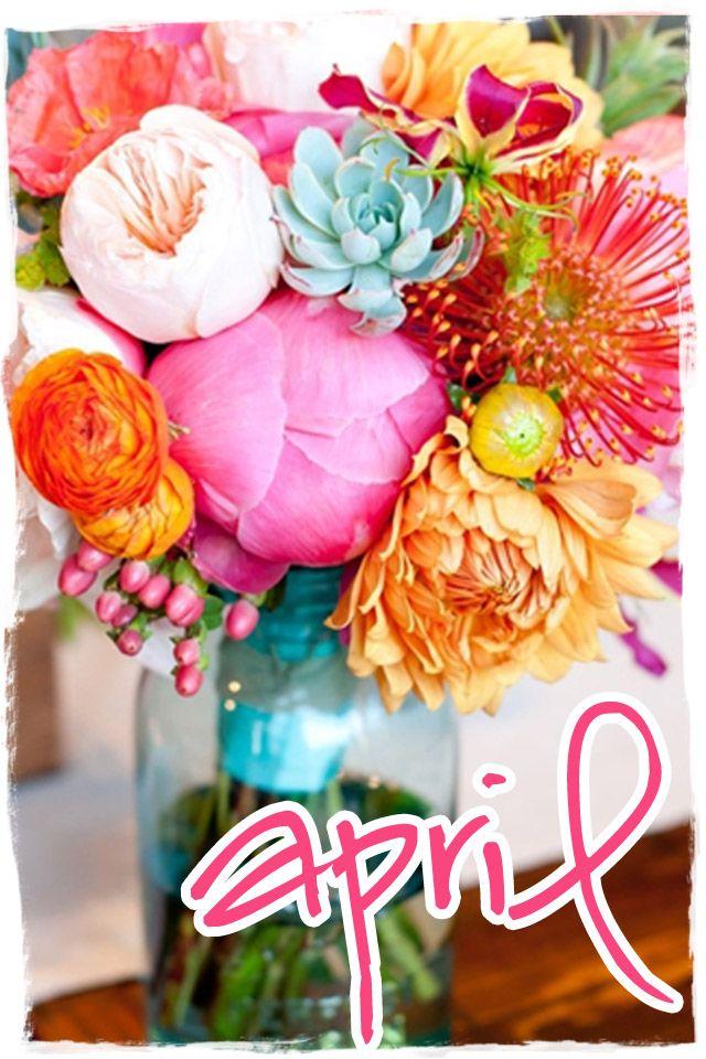 APRIL!: Colors Combos, Idea, Bouquets, Fresh Flowers, Mason Jars, Bright Flowers, Colors Flowers, Peonies, Bright Colors
