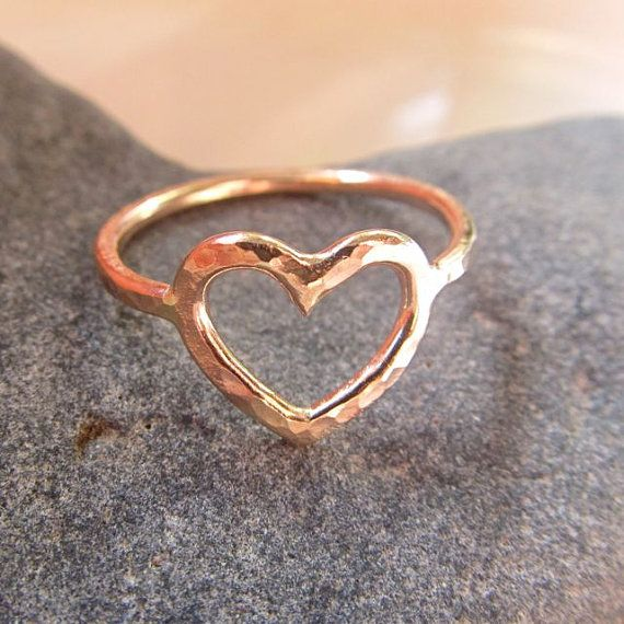 Gold Heart Ring, Love, Sweetheart,  Anniversary, Gift for Her, Hammered, Textured, Handmade on Etsy, $30.00