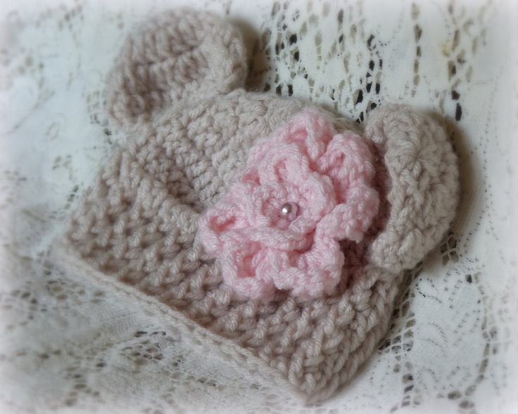Newborn Baby Girl Bear Ears Beanie Hat Cap and Pink Flower Clip Knit Crochet. $20.00, via Etsy.