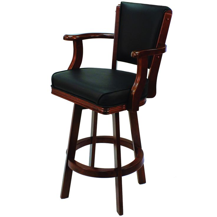 Cappuccino Backed Bar Stool With Arms U0026 Swivel, By RAM Game Room