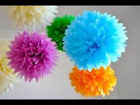 Pompones de papel de seda paso a paso. Decoración de fiestas - YouTube