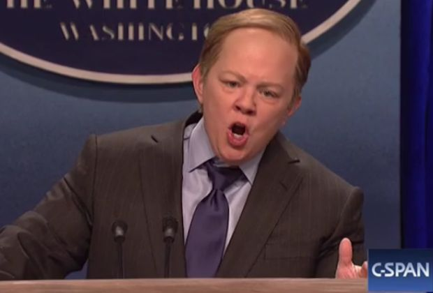 Saturday Night Live went in a gloriously unexpected direction this weekend, casting Melissa McCarthy as White House press secretary Sean Spicer. In the sketch, McCarthy played up Spicer's tense relationship with the media during the first two weeks of President Donald Trump's administration by both physically