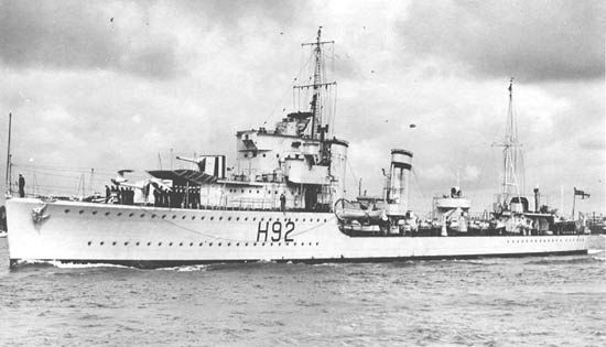 HMS Glowworm (H 92) of the Royal Navy - British Destroyer of the G class - Allied Warships of WWII - uboat.net