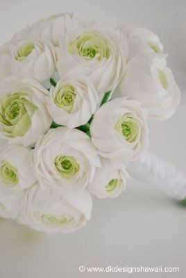 White ranunculus bouquets for the girls with a colored ribbon?