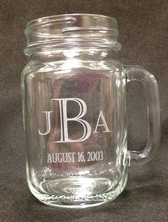 Engraved Wedding Mugs : Monogrammed Mason Jar MugsEngravedWedding Bride and GroomBri ...