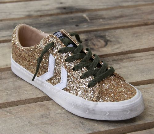 Future Glitter Lace Up Sporty Sneaker in Gold Sparkle by Vintage Havana Shoes