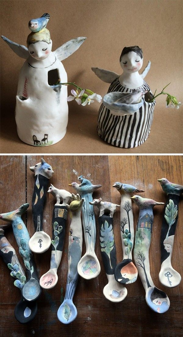 Australian ceramic artists - Erin's Window  Sleeping birds