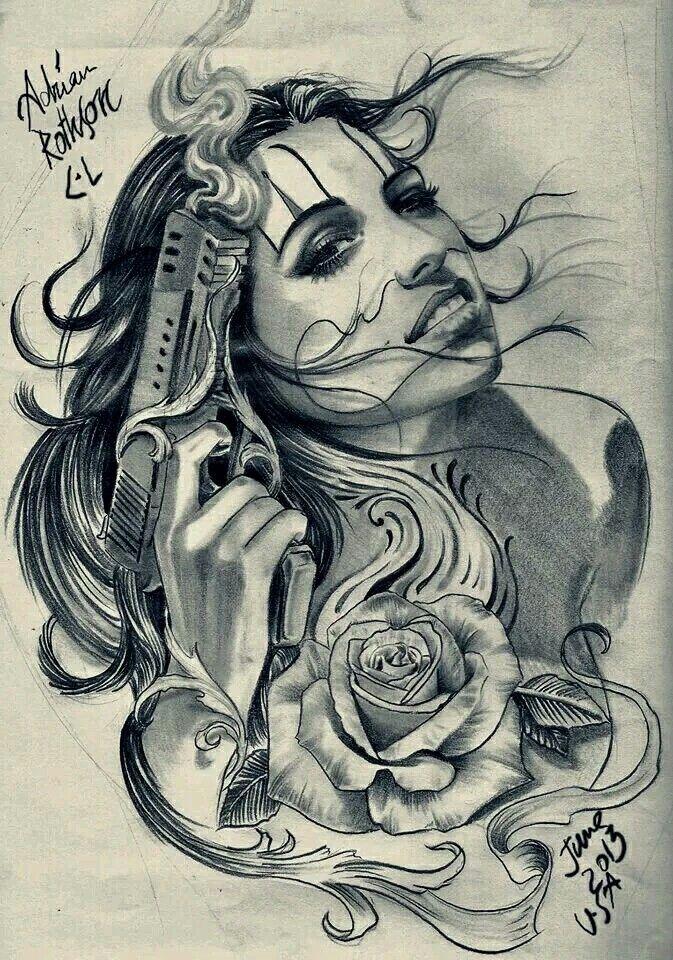 Girl clown  CHICANO GIRL CLOWNS  Chicano tattoos Chicano art Lowrider tattoo