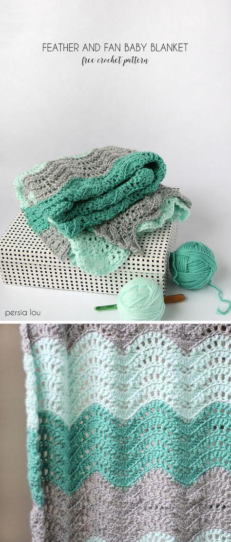 Crochet Feather e Fan Baby Blanket - Padrão Livre