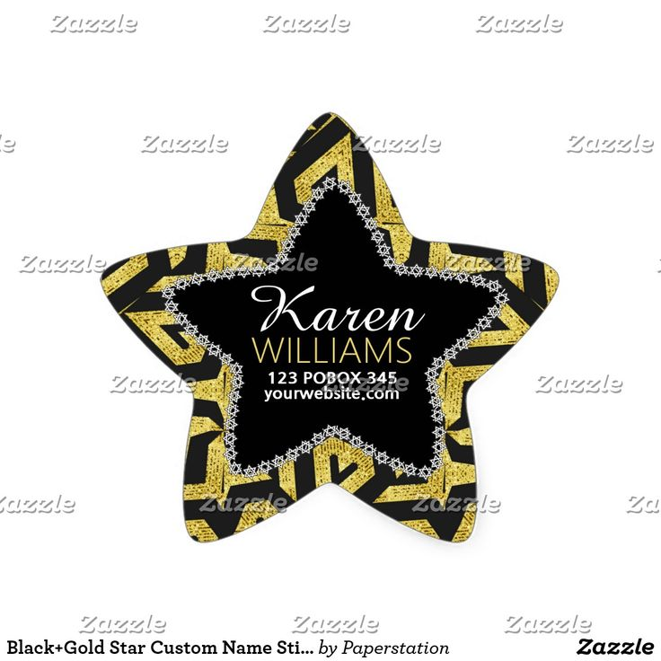 Black+Gold Star Custom Name Stickers