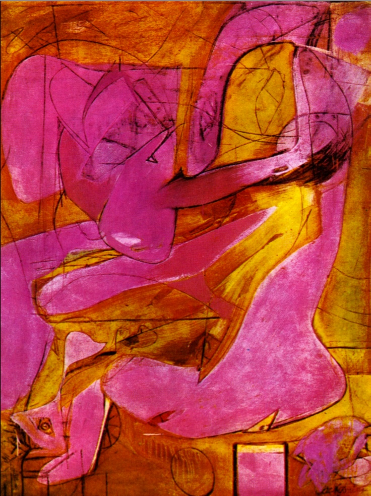 pink abstract painting art by Willem de Kooning Pink Angel