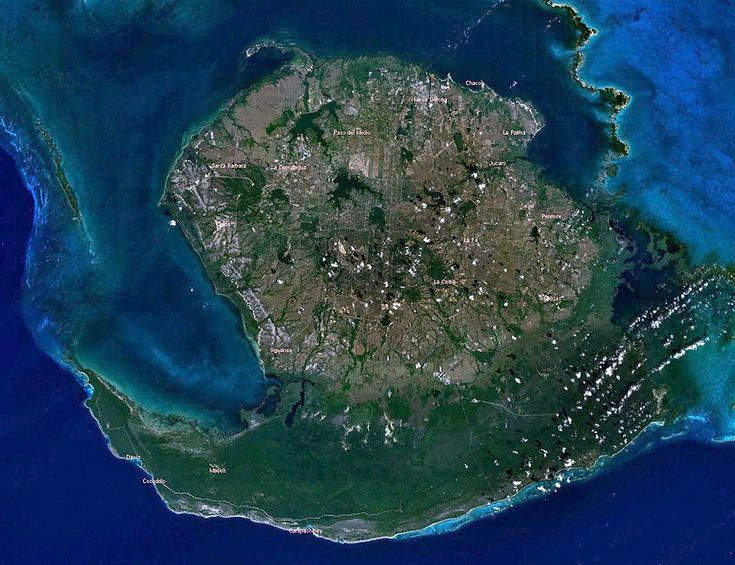 """Isla de Pinos-Isla de la Juventud(""""Isle of Youth"""")  the seventh-largest island in the West Indies (after Cuba itself, Hispaniola, Jamaica, Puerto Rico, Trinidad, and Andros Island). The island was called the Isle of Pines (Isla de Pinos) until it was renamed in 1978. The island has an area 2,200 km2 (850 sq mi) and is 50 km south of the island of Cuba, across the Gulf of Batabanó. The island lies almost directly south of Havana and Pinar del Río"""