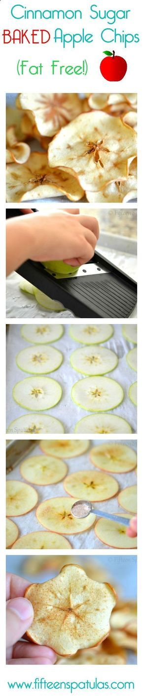 Baked Cinnamon Sugar Apple Chips // make a big batch to enjoy throughout the week, use your own choice of sweetener #nomnom #healthy #clean