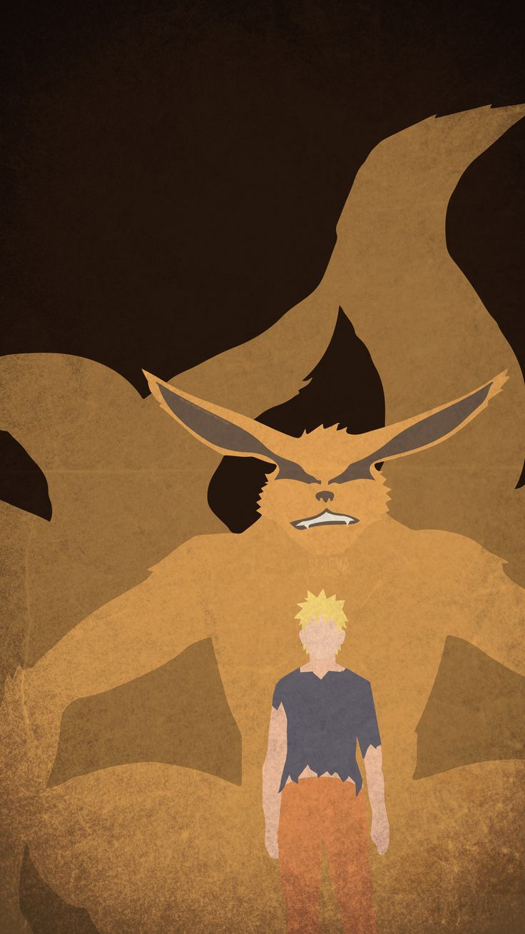 Kurama and Naruto Minimal Mobile Wallpaper Background