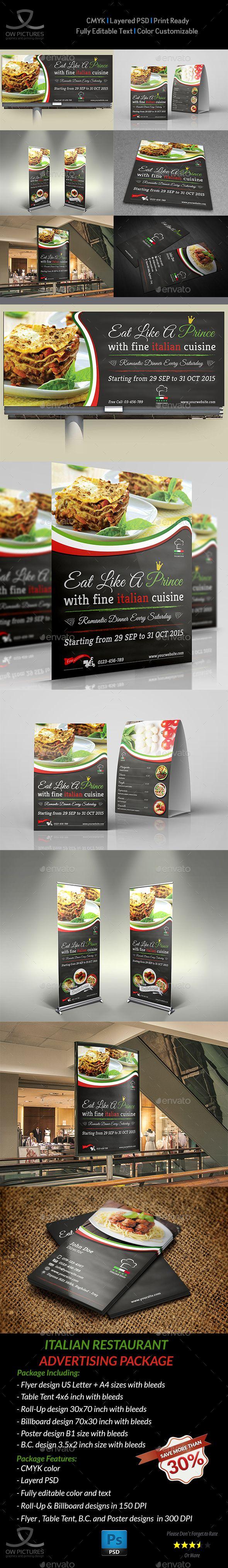 Advertising Bundle Description : Italian Restaurant Advertising Bundle including...