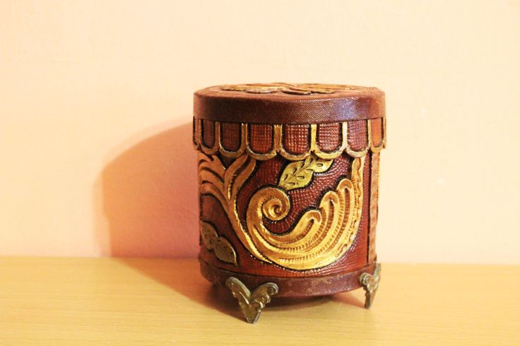 Fantastic Leather & Brass Footed Jewelry Trinket Box, Vintage Round Jewelry Storage, Ornate Leather Ring Dish, Antique Treasure Box by Grandchildattic on Etsy