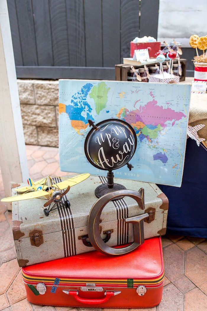 Vintage suitcases, maps + globes from a Vintage Airplane Birthday Party on Kara's Party Ideas | KarasPartyIdeas.com (42)