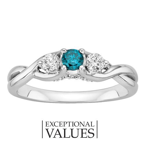 Fred Meyer Jewelers | 3/8 ct. tw. Enhanced Blue and White Diamond Ring