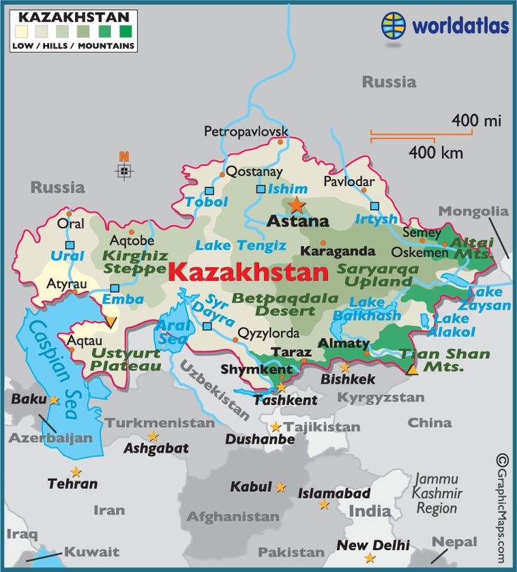 Kazakhstan, a Central Asian country and former Soviet republic, extends from the Caspian Sea in the west to the Altai Mountains at its eastern border with China and Russia. (V)