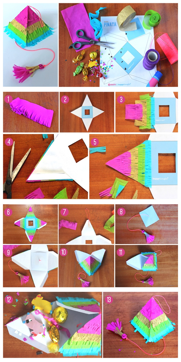 DIY pinata step-by-step tutorial and printable template & it's fully functioning with a tiny pull string! Celebramos! https://happythought.co.uk/craft/tutorials/how-to-make-a-pinata