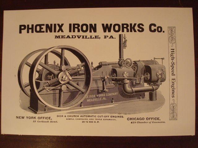 Original PHOENIX IRON WORKS Engine Ad Meadville PA 1892 PORTER MFG CO
