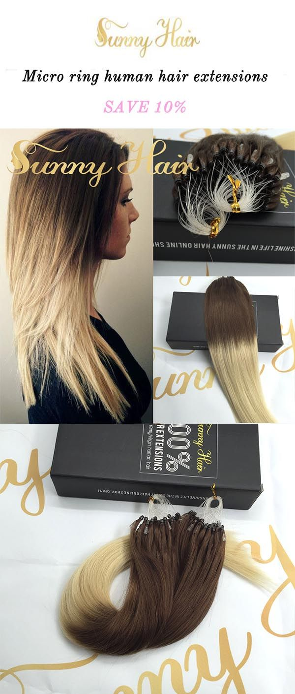 sunny hair brown and blonde ombre color hair, micro ring human hair extensions.https://g-sunny.com/collections/micro-ring-hair-extension
