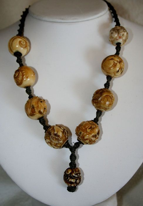 Ivory Ojime Bead Necklace-RARE