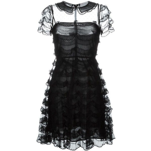 Red Valentino scalloped lace dress (55,810 PHP) ❤ liked on Polyvore featuring dresses, vestidos, black, short dress, short lace dress, red valentino, scalloped dress, short dresses and scalloped lace dress