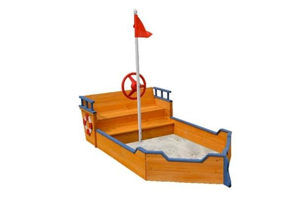 Wooden Ship Sandpit with Flag & Bench Seats