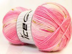 Benang Rajut Impor Ice Baby Pink White Green 03