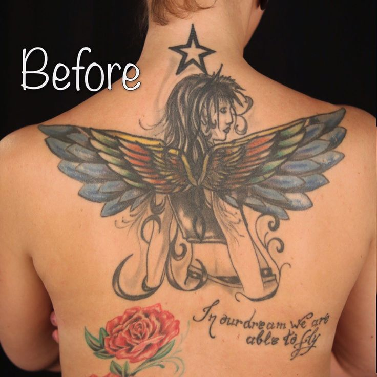 Swipe to see the result!  This was not an easy task - it took 2 layers and will need one more later on. But it looks better right?  Done at @attitudetattoostudio  #coverup #coverups #coveruptattoo #angeltattoo #blekk #oslo #norway #tatovering #tattoo