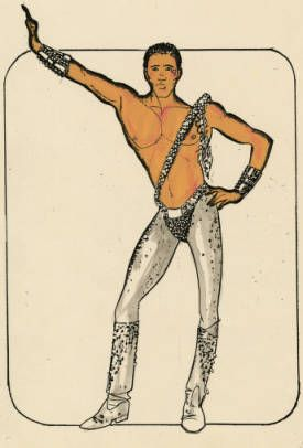 Costume design drawing, male dancer in silver tights, Las Vegas, June 5, 1980 :: Showgirls