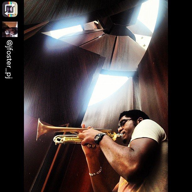 "Music and Sculpture never gets old! Repost from @jfoster_pj using @RepostRegramApp - RIT third-year computer science major Oliver Haynes plays 'Like Someone in Love' by Lee Morgan on his trumpet under the Sentinel October 3 2012. ""Here I am"" said Haynes ""just trying to keep my trumpet as relevant as possible amidst all my schoolwork."" #jazz #trumpet #rit #sentinel #albertpaley #paley #leemorgan #sculpture"