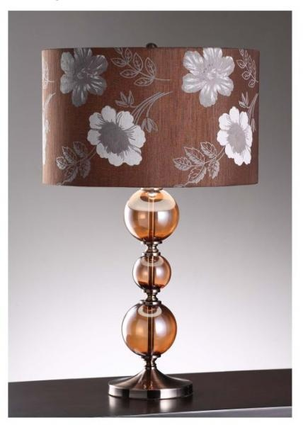 Glass And Metal Table Lamp In Amber Glass And Bronze Finish Hardback Thai  Silk Fabric)