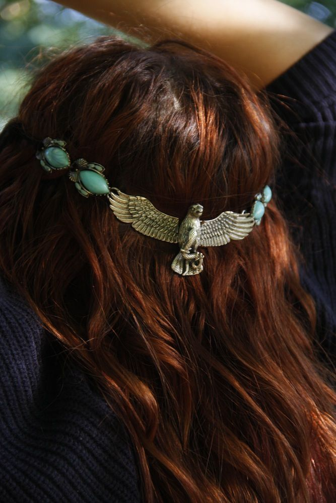 ☮ American Hippie Bohemian Style ~ Boho Jewelry . . Silver Turquoise Eagle Headband!!