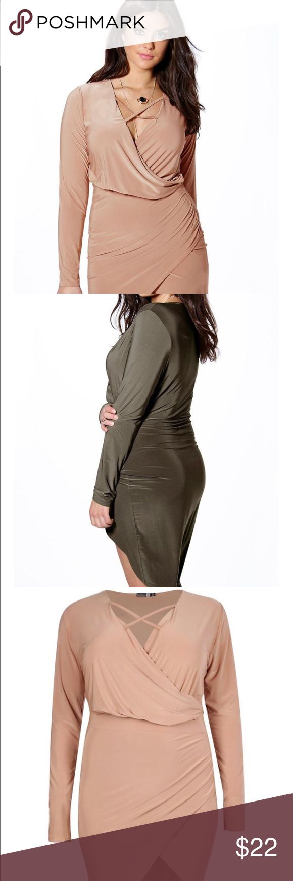 Plus size wrap dress Long sleeve wrap dress with lace up detail in the front and asymmetrical design. One is camel and the other is olive green as pictured Boohoo Plus Dresses Asymmetrical