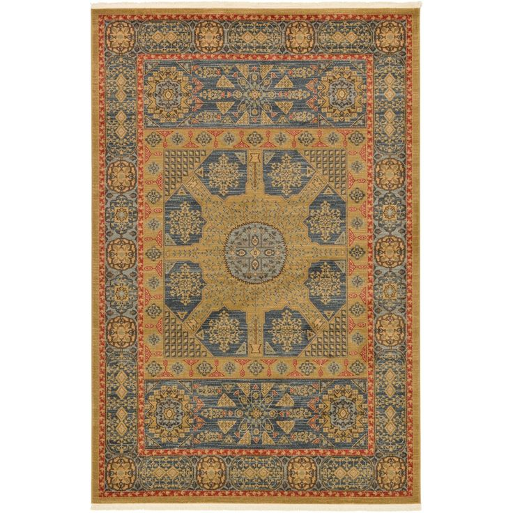 Unique Palace Red/Multicolored Southwestern Indoor/Outdoor Area Rug (6' x 9') (Red - Blue), Size 6' x 9'