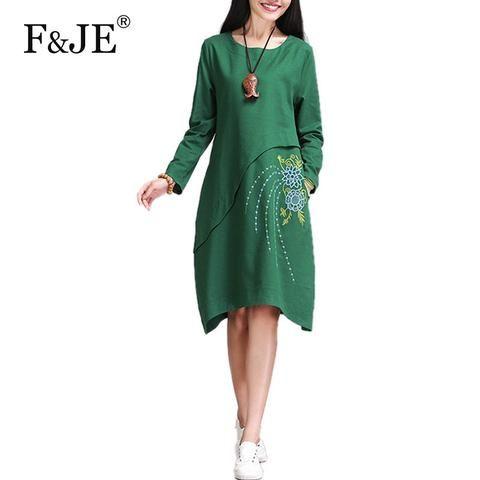 Vintage cotton linen Embroidery Dresses Plus Size S805
