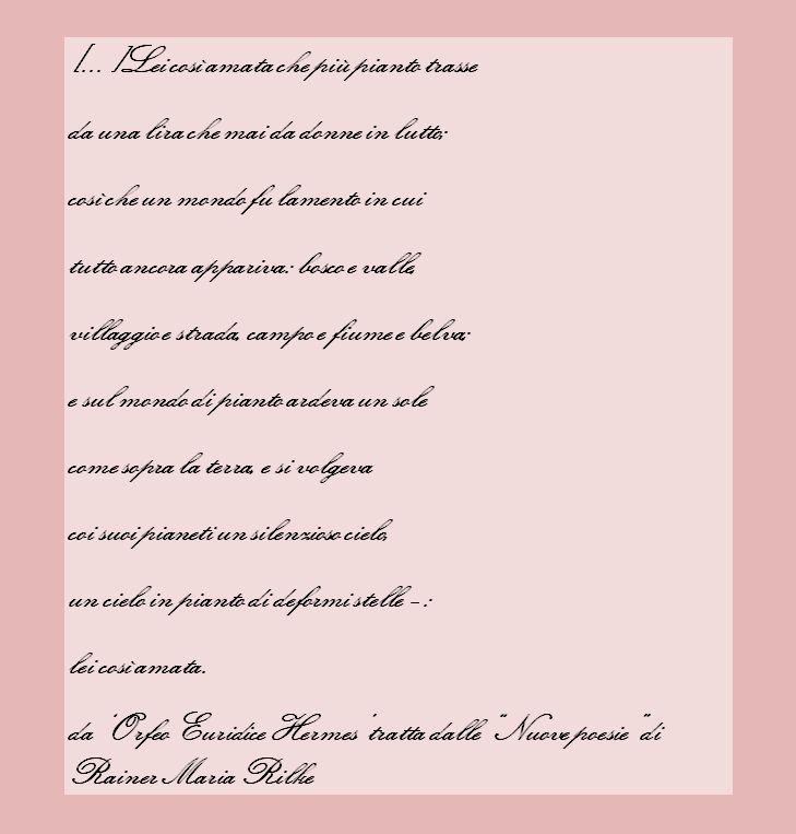 'Orfeo Euridice Hermes' dalle 'Nuove poesie' di Rainer Maria Rilke