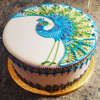 Peacock Mandala Cake - mehndi / henna design