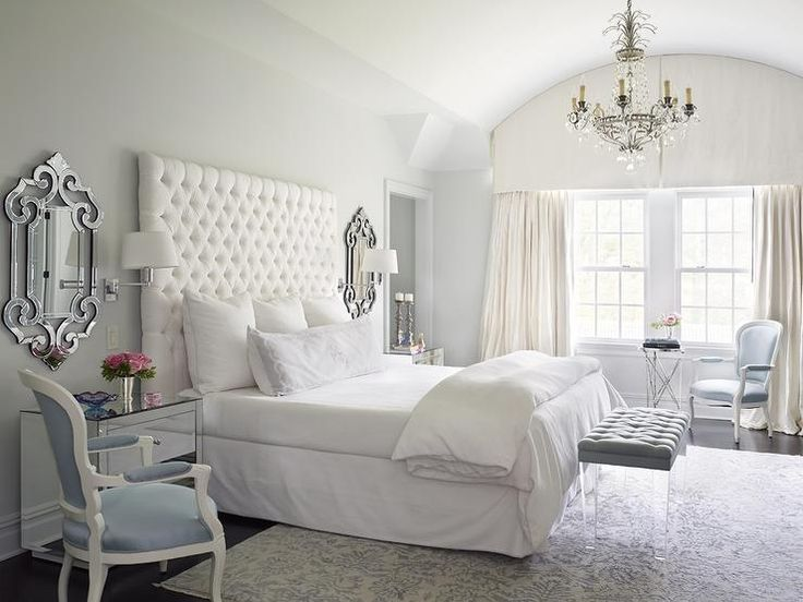 beautiful bedroom designed in cool tones of icy silver and light blue love the headboard