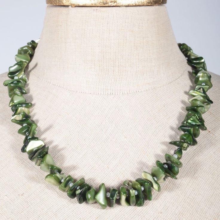 Perlmutt Collier Kette Halskette grün Vintage ~ 50er Jahre 48 cm lang