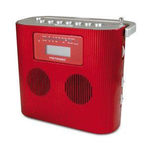 Radio & radio réveil Metronic Radio CD/MP3 Portable Rouge Radio CD/MP portable avec prise Jack 3,5 mm