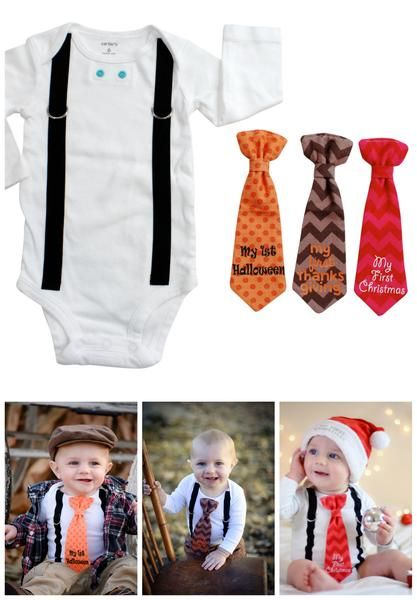 Baby boy's first holidays: christmas, halloween, thanksgiving. Use the same snap on ties for all of them, so cute and clever!