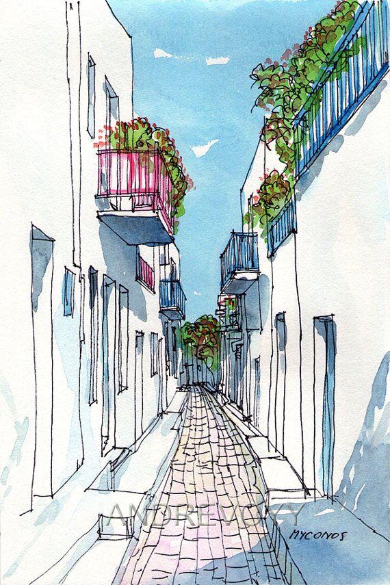 Mykonos Small Street Greece art print from an original watercolor painting