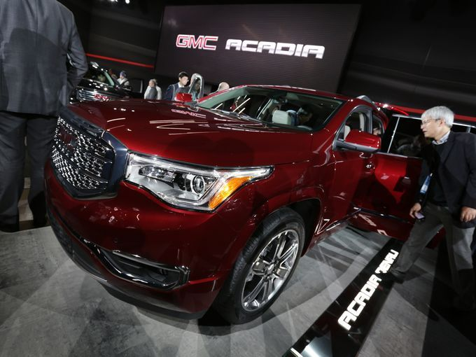 The 2017 GMC Acadia Denali is introduced during the 2016 North American International Auto Show held at Cobo Center in downtown Detroit on Tuesday, Jan. 12, 2016.
