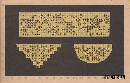Схема для филейной вышивки. СССР, 1949 г.
