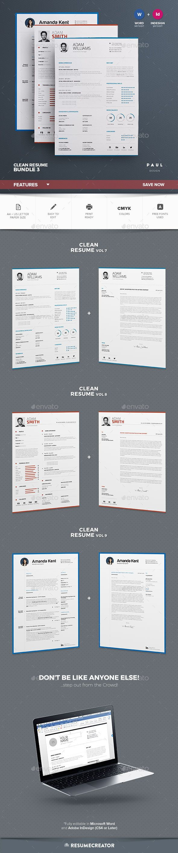 Clean Resume Download%0A Clean Resume Cv Bundle Vol
