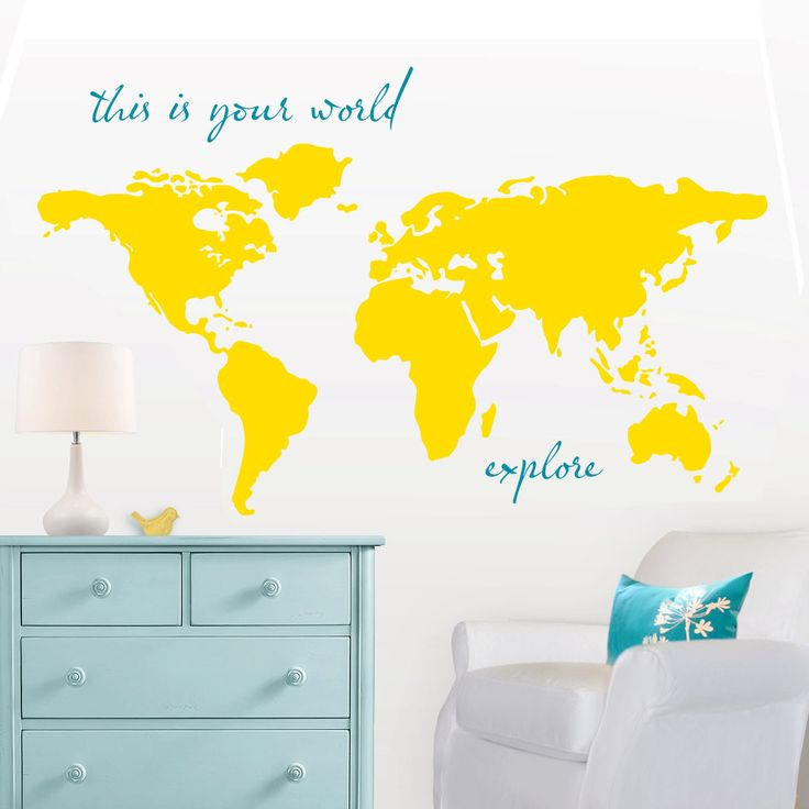 """Large World Map Wall Decal - """"this is your world - explore"""" - 7 ft wide decal - ohdeedoh - orange apartment therapy nursery Kyler's playroom. $52.00, via Etsy."""