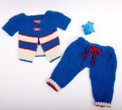 Детский вязаный комплект «Жакет и штанишки» для мальчика 3-6 месяцев. - | Леонардо хобби-гипермаркет - сделай своими руками